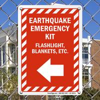 Earthquake Emergency Kit Sign
