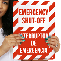 Emergency Shut-Off Interruptor De Emergencia Sign