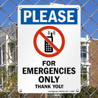 For Emergency Phone Use Only Sign