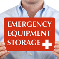 Emergency Equipment Storage with Plus Symbol