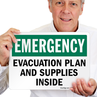 Evacuation Plan and Supplies Inside Sign