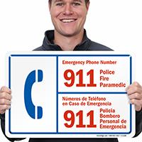 Bilingual Emergency Phone Number Sign