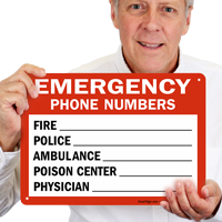 Fire and Emergency Phone Numbers Sign