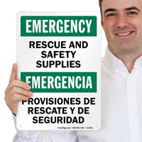 Bilingual Emergency Rescue Safety Sign