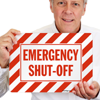 Emergency Shut-Off with Stripes Sign