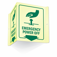 Emergency Power Off Glow-In-Dark Sign