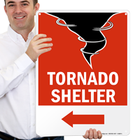 Tornado Emergency Shelter Area Sign with Left Arrow