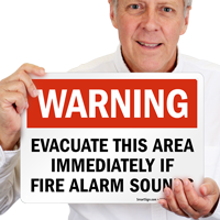 Warning Evacuate This Area Sign