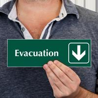 Evacuation with Down Arrow Symbol Sign