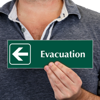 Evacuation with Left Arrow Symbol Sign