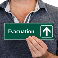 Evacuation with Up Arrow Symbol Sign
