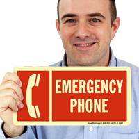 Emergency Phone with Graphic Sign