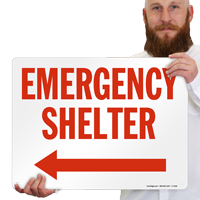 Shelter with Arrow Left Sign