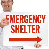 Shelter with Arrow Right Sign