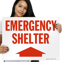 Shelter with Arrow Up Sign
