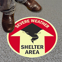 Severe Weather Shelter Area with Up Arrow Sign