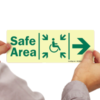 Glow-in-the-Dark Handicap Safe Area Right Sign