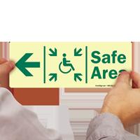 Glow-in-the-Dark Handicap Safe Area Left Sign