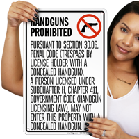 Handguns Prohibited Texas Sign