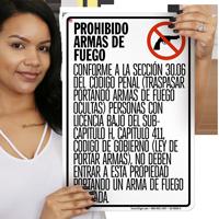 Handguns Prohibited Texas Sign
