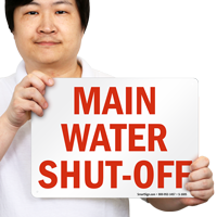 Main Water Shut-Off Fire & Emergency Sign