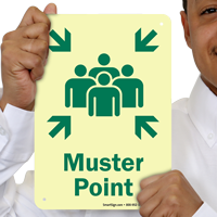 Glow-in-the-Dark Muster Point With People Assembled Graphic Sign