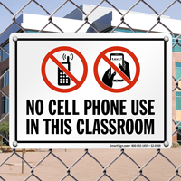 No Cell Phone In Classroom Sign