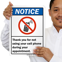 Thank You For Not Using Cell Phone Notice Sign