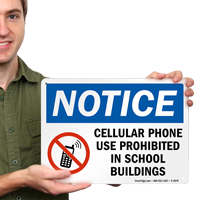 Cellular Phone use prohibited School Sign