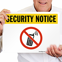 No Cell Phone With Graphic Security Sign