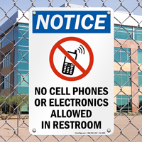Notice No Cell Phones Allowed Sign