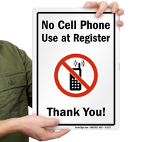 No Cell Phone Use at Register, Thank You Sign