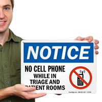 No Cell Phone While In Triage And Patient Rooms Sign