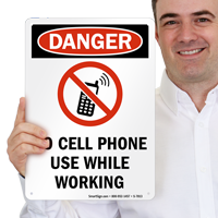 No Cell Phone Use While Working with Symbol Sign