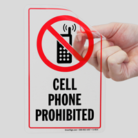 Cell Phones Prohibited Window Decal