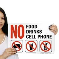 No Food Drinks Cell Phone Property Sign