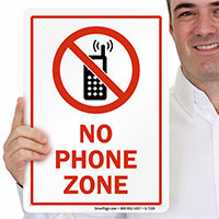 No Phone Zone with Graphic Sign
