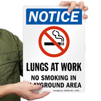 Lungs At Work No Smoking In Playground Area Notice Sign