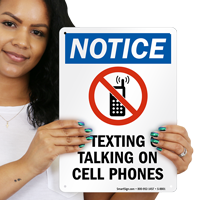 No Texting Or Talking On Cell Phones Notice Sign