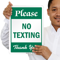Please No Texting Thank You Sign