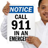 Call 911 In An Emergency Sign
