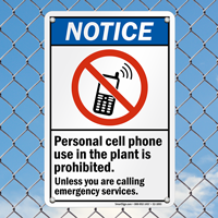 Notice Personal Cell Phone Use Prohibited Sign