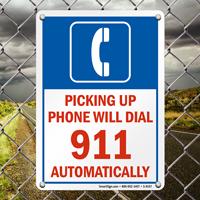 Phone Will Dial 911 Automatically Sign