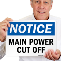 Main Power CutOff Switch Sign
