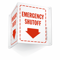 Projecting Emergency Shutoff Sign