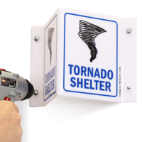 Tornado Shelter Projecting Emergency Sign