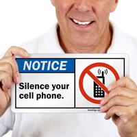 Silence Your Cell Phone With No Cell Graphic Sign