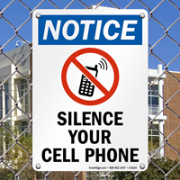 Silence Your Cell Phone With No Cell Phone Graphic Sign