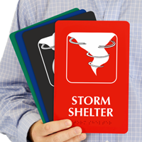 Storm Shelter With Graphic Braille Sign