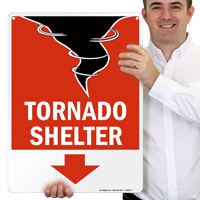 Tornado Emergency Shelter Area Sign with Down Arrow